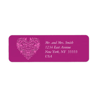 HeartyParty Pink And Cherry Damask Heart Return Address Label