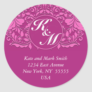 HeartyParty Pink And Cherry Damask Heart Round Sticker