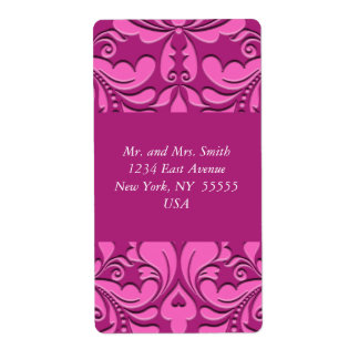 HeartyParty Pink And Cherry Damask Heart Shipping Label