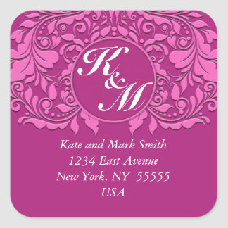 HeartyParty Pink And Cherry Damask Heart Square Sticker