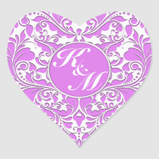 HeartyParty Pink And White Damask Heart Heart Sticker
