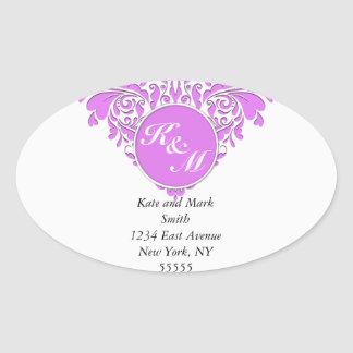 HeartyParty Pink And White Damask Heart Oval Sticker
