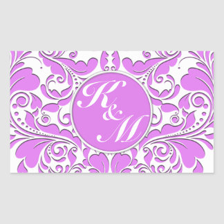 HeartyParty Pink And White Damask Heart Rectangular Sticker
