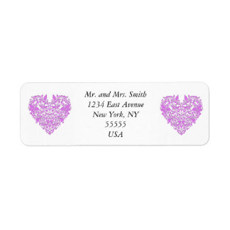HeartyParty Pink And White Damask Heart Return Address Label