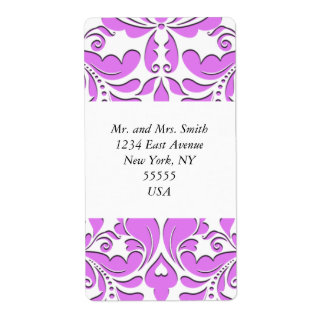 HeartyParty Pink And White Damask Heart Shipping Label