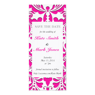 HeartyParty Pink Magenta And White Damask Heart 10 Cm X 24 Cm Invitation Card