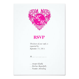 HeartyParty Pink Magenta And White Damask Heart 11 Cm X 16 Cm Invitation Card