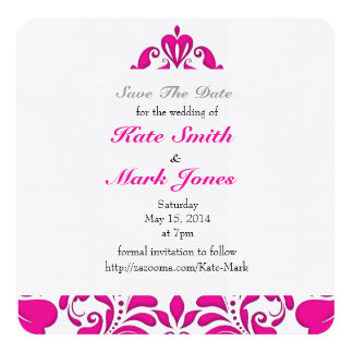HeartyParty Pink Magenta And White Damask Heart 13 Cm X 13 Cm Square Invitation Card