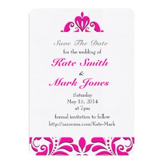 HeartyParty Pink Magenta And White Damask Heart 13 Cm X 18 Cm Invitation Card