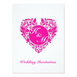 HeartyParty Pink Magenta And White Damask Heart 17 Cm X 22 Cm Invitation Card