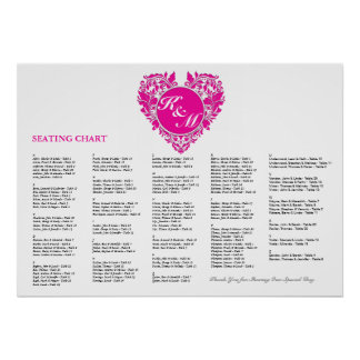 HeartyParty Pink Magenta And White Damask Heart Poster
