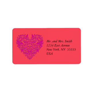 HeartyParty Raspberry and Magenta Damask Heart Address Label