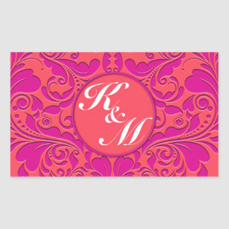 HeartyParty Raspberry and Magenta Damask Heart Rectangular Sticker