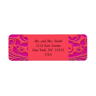 HeartyParty Raspberry and Magenta Damask Heart Return Address Label