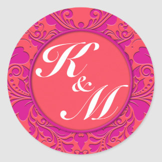 HeartyParty Raspberry and Magenta Damask Heart Round Sticker