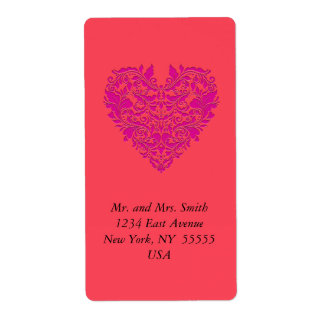 HeartyParty Raspberry and Magenta Damask Heart Shipping Label