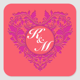 HeartyParty Raspberry and Magenta Damask Heart Square Sticker