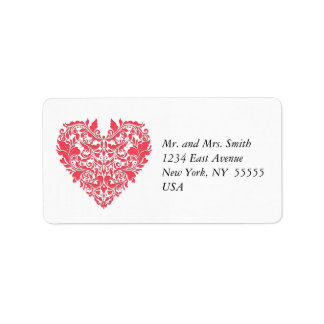 HeartyParty Raspberry Red And White Damask Heart Address Label