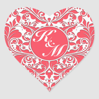 HeartyParty Raspberry Red And White Damask Heart Heart Sticker