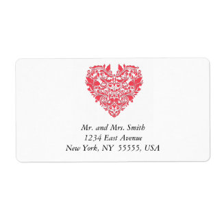 HeartyParty Raspberry Red And White Damask Heart Shipping Label