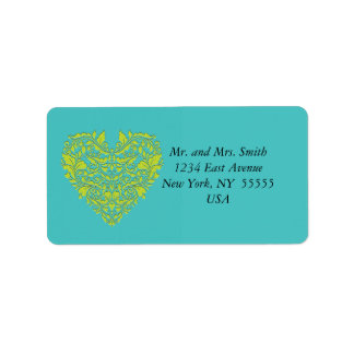 HeartyParty Turquoise and Lime Damask Heart Address Label