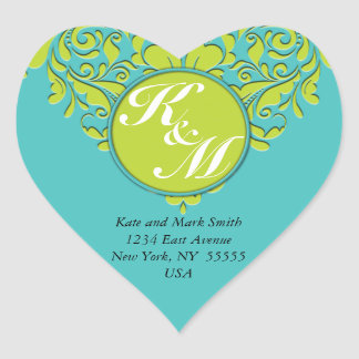 HeartyParty Turquoise and Lime Damask Heart Heart Sticker