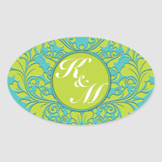 HeartyParty Turquoise and Lime Damask Heart Oval Sticker