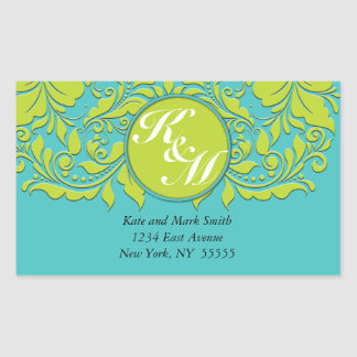 HeartyParty Turquoise and Lime Damask Heart Rectangular Sticker
