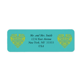 HeartyParty Turquoise and Lime Damask Heart Return Address Label