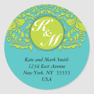 HeartyParty Turquoise and Lime Damask Heart Round Sticker