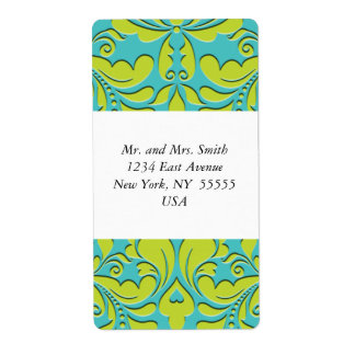 HeartyParty Turquoise and Lime Damask Heart Shipping Label