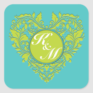 HeartyParty Turquoise and Lime Damask Heart Square Sticker