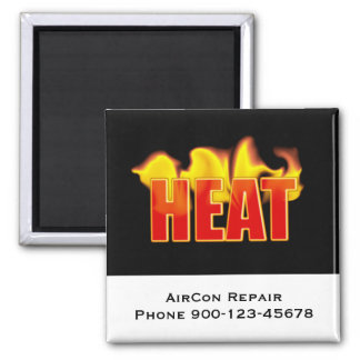 Heat Logo With Burning Flames Square Magnet