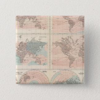 Heat over globe 15 cm square badge
