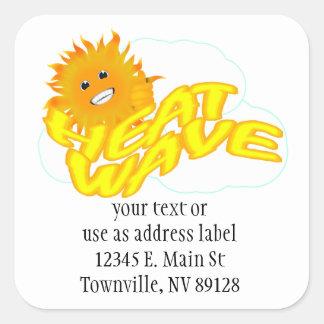 Heat Wave and Mr Happy Sun Square Stickers
