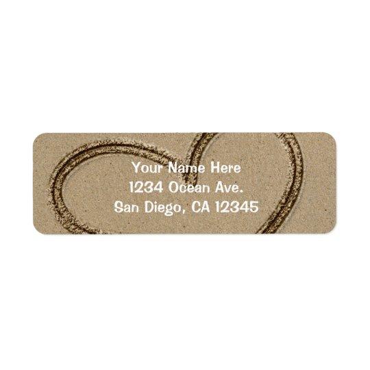 Heat Writing in Sand Wedding Love Address Label