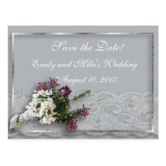 Heather and Lace Save the Date Postcard