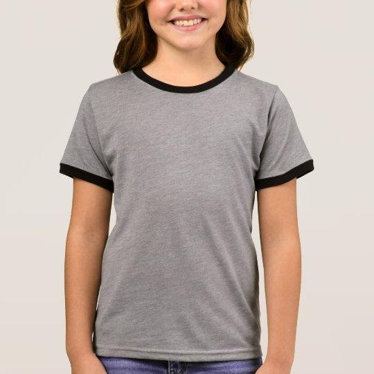 Heather Grey/Black Girls' Basic Ringer T-Shirt
