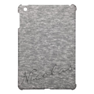 Heather grey knit fabric with custom name iPad mini cases