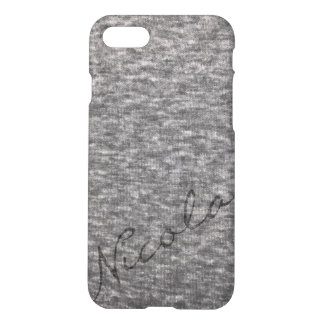 Heather grey knit fabric with custom name iPhone 8/7 case