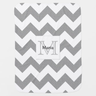 Heather Grey Monogram Chevron Baby Blanket