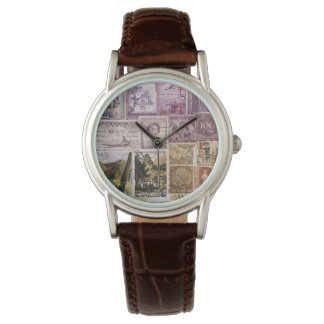 Heather Moss Wristwatch, Postage Stamp Art Watches