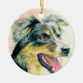 Heather the Border Collie Christmas Ornament