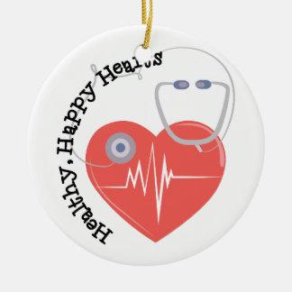Heatlty Hearts Round Ceramic Decoration