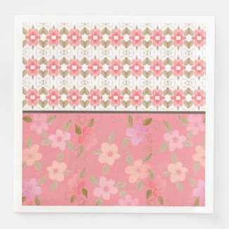 Heats and Flowered Pink Party Napkins