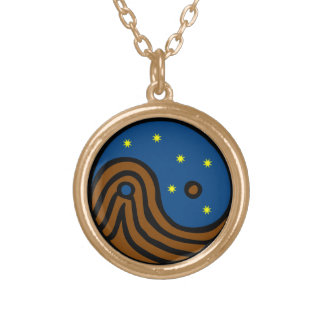 Heaven and Earth - Yin / Yang / Tao / Taoism Gold Plated Necklace