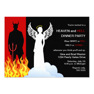 "Heaven And Hell Party Invitations 5"" X 7"" Invitation Card"