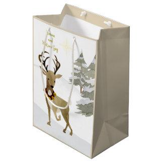 Heaven and Nature Sing Deer Christmas Medium Gift Bag
