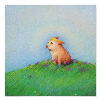 Heaven - beautiful puppy dog Spring morning 13 Cm X 13 Cm Square Invitation Card