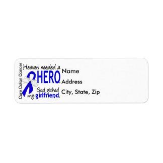 Heaven Needed a Hero Colon Cancer Girlfriend Return Address Label